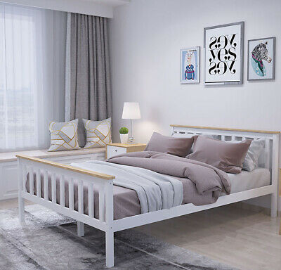 Pine Solid Wood High End 4ft6 Double Bed Frame in White