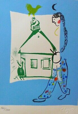 "MARC CHAGALL ""The house in my village"" SIGNED HAND NUMBERED LITHOGRAPH M287"