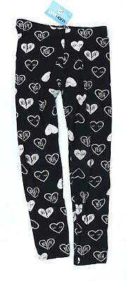 Marks & Spencer Girls Black Graphic Love Heart Leggings Age 13-14