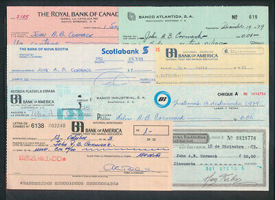 """Central & South America: 1978-83 """"COLLECTION OF 8 CHEQUES"""" Some Scarce"""