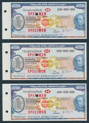 """Hong Kong: 1984 Thos Cook HKBank & Mastercard """"SET SPECIMEN TRAVELLERS CHEQUES"""""""