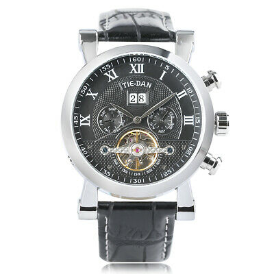 Men Automatic Mechanical Watch Tourbillon Leather Band Wristwatch Stainless Case