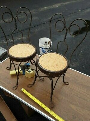 Lot of 2 Vintage Ice Cream Parlor Chairs Twisted  Back gift patio display craft