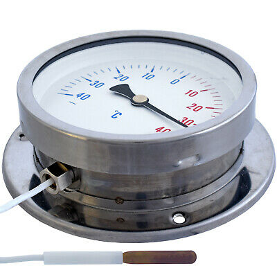 100mm DIAL Thermometer capillary Temperature Gauge -40+ 40C 4,5m remote sensor