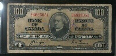 1937 Bank Of Canada ($100.00 ) One Hundred Dollar Banknote Coyne Towers