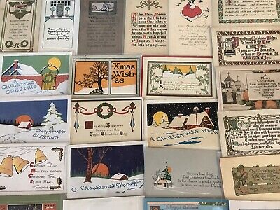 Lot of 28 Early Arts & Crafts Poems CHRISTMAS Collectible 1900's Postcards-c822