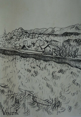 Fine study of Countryside original charcoal drawing, Vincent van Gogh era Signed