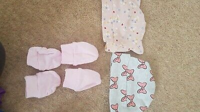 Baby Hats and 2 Pairs Scratch Mittens 100% Cotton Newborn Girl