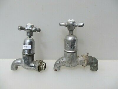 Vintage Chromed Brass Taps Sink Basin Old Mid Century Antique HOT & COLD / ODD