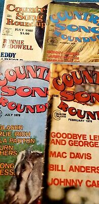 Vtg Lot of 4 Country Song Roundup Mag John Denver Guitar Player World Hank Cash