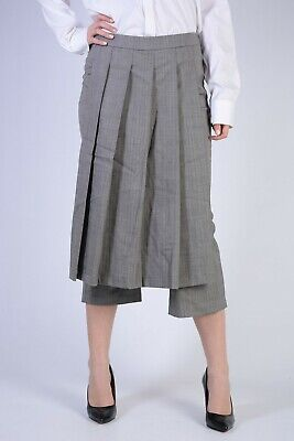 NEIL BARRETT New Woman Gray Herringbone Pleated Cropped Pants Trouser Size 40 It