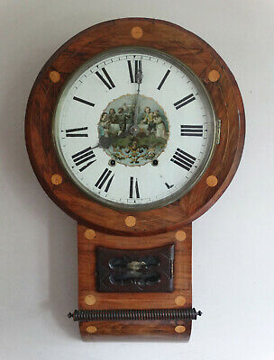 Antique Victorian American Drop Dial Wall Clock by New Haven c1890 Chiming 8 Day