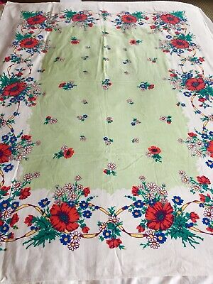 Vintage 1940's Vibrant Printed Daisy Poppy Bouquets Floral Tablecloth 45x60