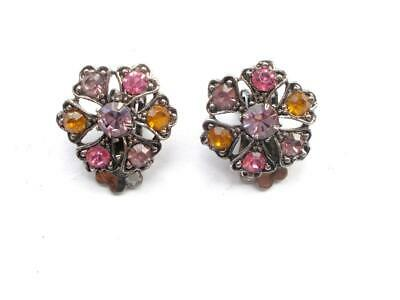 Vintage Art Deco Pink Lilac Amber Glass Crystal Silver Tone Clip On Earrings