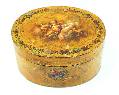 c1770, ANTIQUE 18thC FRENCH VERNIS MARTIN LACQUER PAINTED OVAL TABLE SNUFF BOX