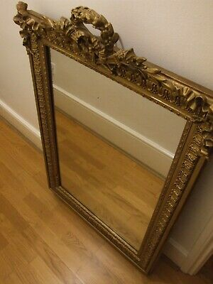 Large Antique French 19th Century Gilt Leaner Mirror - Superb Condition