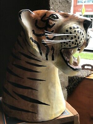 "10 1/2"" Bengal Tiger Head Bust Fierce Canines Collectible Wildlife Head Bust"