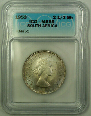 1953 South Africa Silver 2 1/2 Shillings Coin ICG MS-66 KM#51