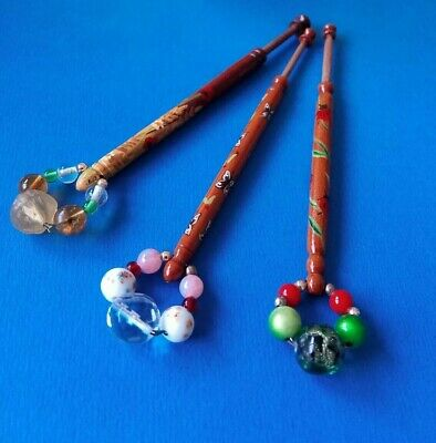 3 Wood Lace Bobbins 2 By CMP. With Corn Field, Butterflies & Ladybirds. Spangles