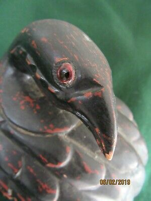 RARE~Antique Japanese ((Taisho Period) Carved QUAIL with Glass Eyes~Box