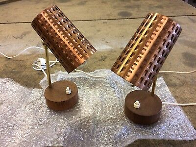 Vintage Mid Century Modernist Copper Bedside Table Lamps Brutalist Mad Men