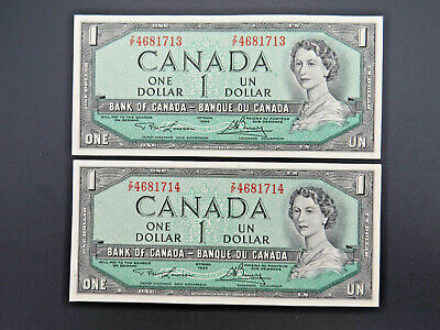 1954 $1 Dollar Bank of Canada Banknote Consecutive Bills Z/F4681713-14 AU Grade