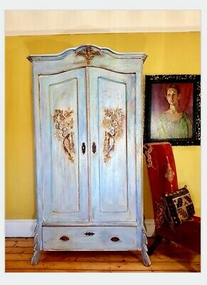 Stunning Vintage French Antique Hand-painted wardrobe/ Armoir. Unique, one of a