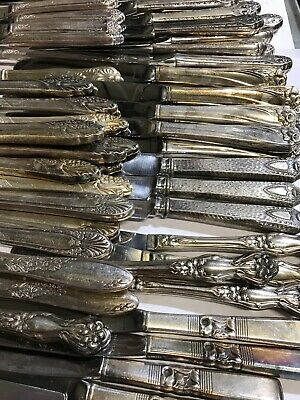75 Pc Lot  Antique to Vintage  Silverplate HOLLOW HANDLE KNIFES - CRAFT or USE