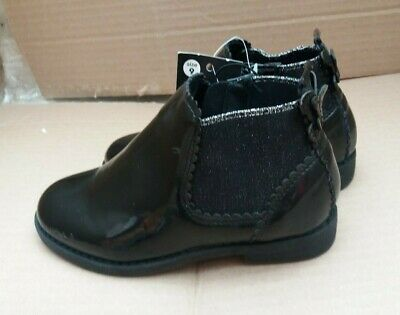 George Infant Girls Black Patent Ankle Boots - Butterfly Back Bow - UK 9