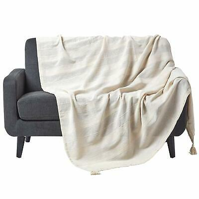 Homescapes Rajput Ribbed Throw 60 x 80 Inches Plain Natural Handmade 100% Cotton
