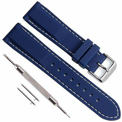 Quick Release Silicone Soft Rubber Watch Straps with Stainless Metal Clasp(18mm