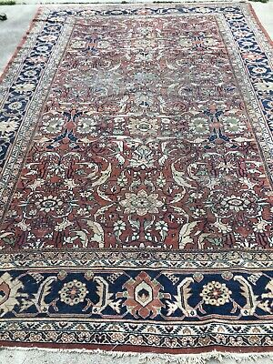 Antique Persian Mahal Rug Circa 1920 Wool Handknotted