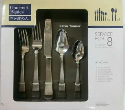 Mikasa Gourmet Basics Satin Tanner Stainless Steel 50 Piece Flatware Set