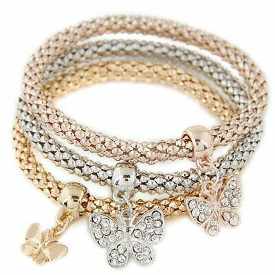 REAOK 3Pcs Crystal Bangle Gold Silver Rose Gold Plated Elephant Owl Tree Life Br
