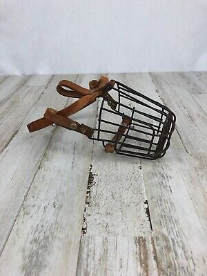 Vintage Metal Small Dog Muzzle/Metal Cage w/ Leather Straps