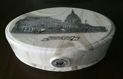 United States Congress Capital Marble Trinket Jar Box Container Engraved USA
