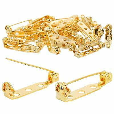 TRIXES 100PC Brooch Pins – Safety Clasp with Back Bar Fastener - 25mm - Gold