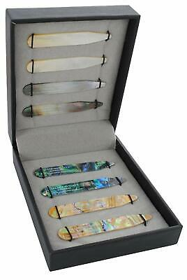 "- 8 Shirt Collar Stiffeners - 4 MOTHER OF PEARL DESIGNS - 2.35"" - Green Brown G"