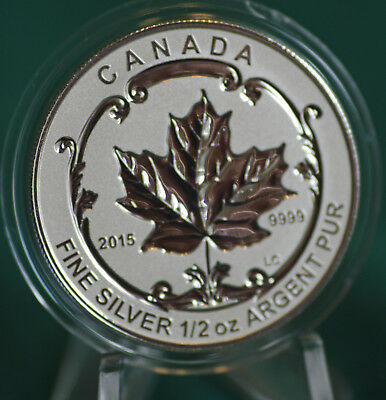 2015 CANADA $4 Incuse Silver Maple Leaf 1/2 oz Reverse proof from Fractional set