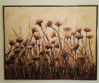 ORIGINAL Oil on Canvas painting MID CENTURY Large Framed DANDILIONS signed