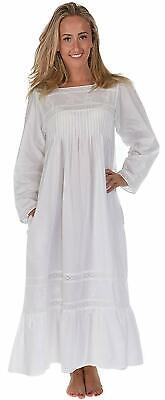 The 1 for U 100% Cotton Victorian Style Nightdress with Pockets - Violet- XS - X