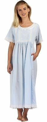 The 1 for U 100% Cotton Womens Nightdress with Pockets Victorian Style BN1