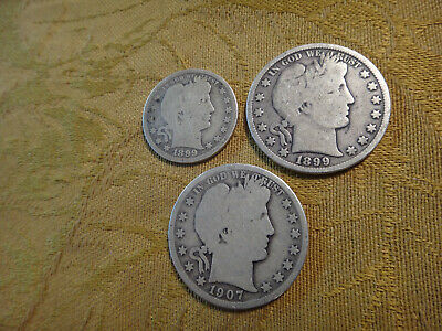 Lot Of 3 90% Silver Barber Quarters & Barber Dime - No Reserve - Free S&H USA