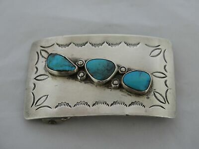 Vintage Southwest Sterling Silver & Turquoise Heavy Belt Buckle