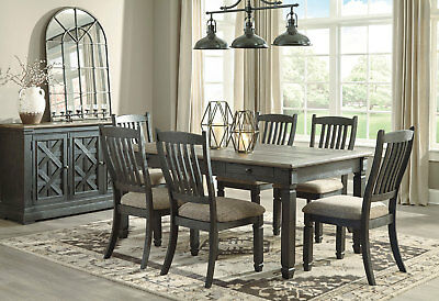 Cottage Rustic Black Brown Dining Room Furniture Russo 7pcs Table Chairs Set