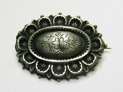 Antique Victorian Sterling Silver Oval Brooch