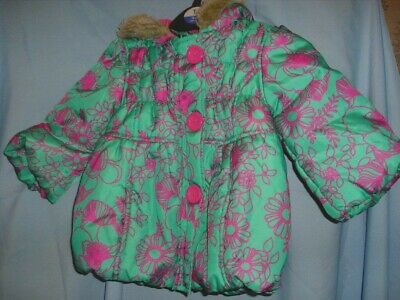 Stunning Quilted Girls Coat Age 12-18 Months In Green Floral By Indigo M And S