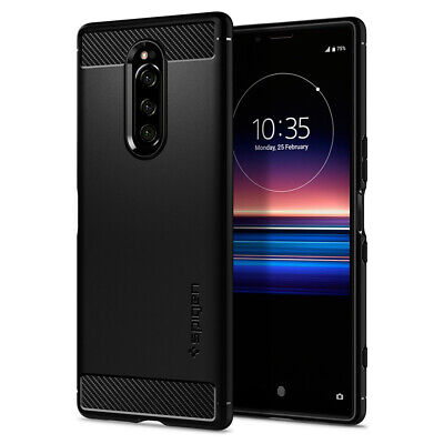 Xperia 1 | Spigen® [Rugged Armor] Protective Matte Black Slim Case Cover