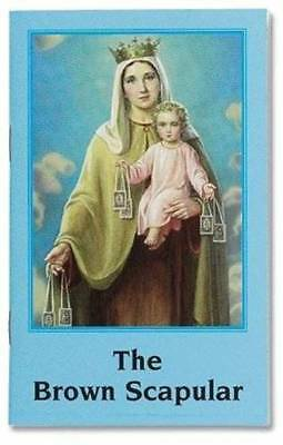 Brown Scapular Wool with Instructional Booklet Wonderful Catholic Tradition