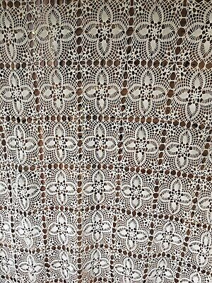 """Vintage Tatted/ Crochet Lace Light Beige 62""""x 70"""" Tablecloth"""
